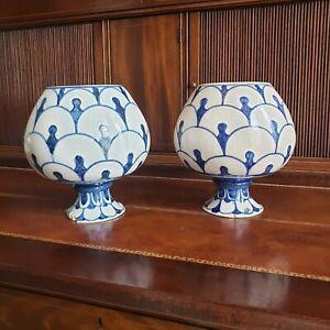 Pair of Antique Dutch Delft Style Vases Bulbous Shape Scales Design