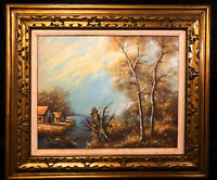 Vintage Original Oil Landscape Painting Signed T. Young Ocean Boat Gilded Frame