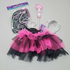 Toddler Girls Tulle Skirt Crown Scepter Sequin Wings Black Pink OS New kg1