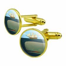 Sperm Whale Under Ship Round Cufflink Set Gold Color