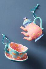 Anthropologie Tea Time Ornament Set Teapot Teacup Whimsical Christmas Ornaments