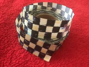 """3 Yds MacKenzie Childs Courtly Check Taffeta Wired Ribbon 1""""W - Made in Germany"""