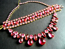 Vintage Weiss Necklace Bracelet Pink Rhinestones Prong Set