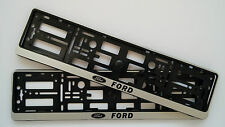 2x FORD SILVER CAR NUMBER PLATE SURROUNDS HOLDER FRAME FOR ANY FORD CAR