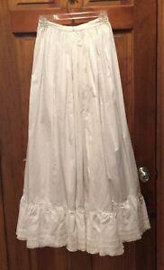 Antique Vintage White Cotton and Lace Long Half Slip Petticoat