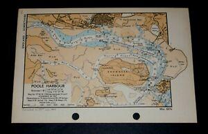 POOLE HARBOUR & BROWNSEA ISLAND, Dorset- Rare vintage WW2 Naval Map 1944