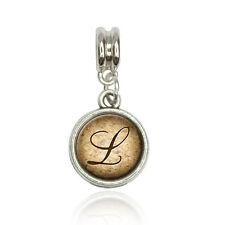 Letter L on Cork Design Euro European Italian Style Bracelet Bead Charm
