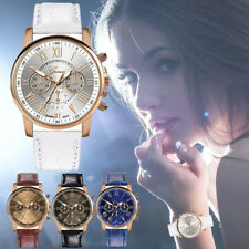 Fashion Womens Watch Ladies Faux Leather Band Stainless Steel Case Wrist Watches