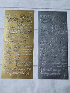 JEJE peel off outline stickers - thank you - gold & silver !FREE P&P!
