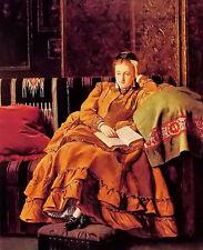 Dream-art Oil painting francis john wyburd - reflection young girl on sofa book
