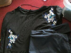Atmosphere x 2 ladies black / navy short-sleeve tops blouses 16 / 18