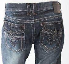 Xtreme Couture AFFLICTION Men Denim Jeans TREVOR Fleur DARK BLUE Embroidered $79