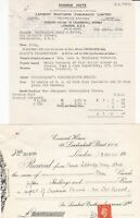 LAMBERT BROTHERS (INSURANCE) LIMITED 1941 Charge Note & Stamp Receipt Ref 46463