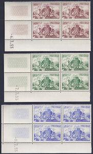 VIETNAM SOUTH 1955 Sc 27/29 Blocs of 4 CD shiny white gum NH XF