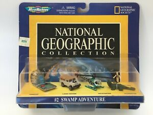 MICRO MACHINES 1998 NATIONAL GEOGRAPHIC #2 SWAMP AIRBOAT LAND ROVER HELICOPTER