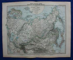 Original antique map NORTH & CENTRAL ASIA, RUSSIA, CHINA, JAPAN, Stieler, 1891