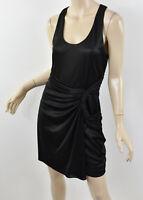 BADGLEY MISCHKA Mark & James Shiny Black Knit Faux Wrap Racerback Dress M/L
