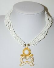 VINTAGE DONALD STANNARD RUNWAY COUTURE EGYPTIAN REVIVAL WHITE & GOLDEN NECKLACE