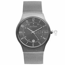Skagen Authentic Watch 233XLTTM Grey Dial Titanium Stainless Steel Mesh Men's