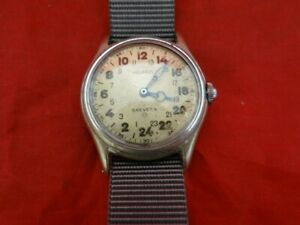 Vintage WW2 Pilots 24 Hour Dial Helbros Brevet Military Stainless Steel Watch