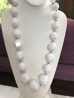 """Vintage 28"""" Graduated Faceted White Lucite Beaded Necklace With Gold Accent"""