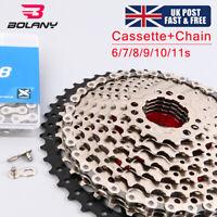 BOLANY KMC 8/9/10/11S MTB Bike Cassette Chain 11-40/42/46/50 Sprocket Derailler