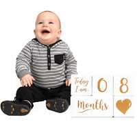 Baby Monthly Milestone Blocks for Boys or Girls - Photo Prop PREMIUM SOLID WOOD