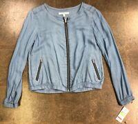 Fever Brand Lightweight Lyocell Zip Up Jacket Women Size Medium Blue Denim