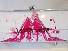 Little Earth Metal Swarovski Crystal Cylinder Purse Handbag LOVE LOVE LOVE Pink
