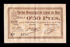 B-D-M  España billete local Lloret de Mar Girona 50 Céntimos 1938 EBC XF
