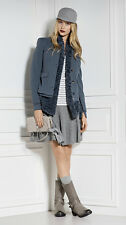 Marc Cain Sports Designer Collarless Lined Jacket Size 14 Uk BNWT RRP €349 Navy