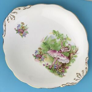 Vintage Cake Plate Bone China England Ballerina Ballet Dancer gold rim W 26 cm