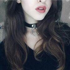 Punk Rock Choker Necklace Double O RING Leather Collar Harajuku