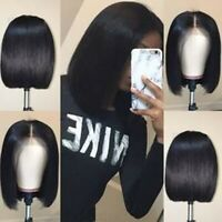 Real Brazilian Hair Wig Short Bob Straight Wig Lace Front Human Hair Wigs Black