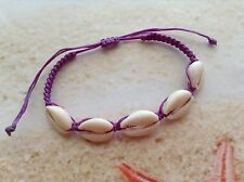 ADJUSTABLE COWRIE SEA SHELL NYLON WAX PURPLE CORD SEASHELL BRACELET JEWELLERY