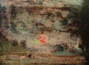 MONOGRAM SIGNED 1954 British Modernist Sunset Oil Painting- Dealers Please Look