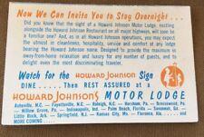 INTRODUCING HOWARD JOHNSON MOTOR LODGE ADVERTISING POSTCARD