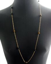 Vintage 14K Tiger's Eye & Onyx Bead Chain Necklace