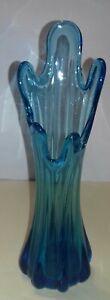 Vintage Turquoise  Glass Vase