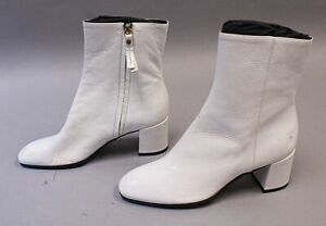 M. Gemi Women's The Corsa Leather Ankle Boots HD3 White Size US:7 EUR:37 $348