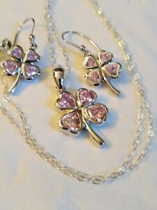 925 SILVER-- PINK TOPAZ 4 LEAF CLOVER PENDANT, STERLING CHAIN AND DROP EARRINGS
