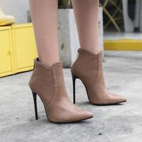 Europa Damenstiefel Ankle Boots Stilettoabsatz Spitz Zehe Schuhe Gr:34-48 Pumps