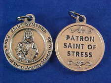 "St DYMPHNA Patron St of STRESS ANXIETY MENTAL Saint Medal Silver Tone 3/4"""
