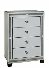 CRUSHED DIAMOND MIRRORED CHEST OF 4 DRAWERS, MIRRORED BLING BEDROOM DRAWERS,