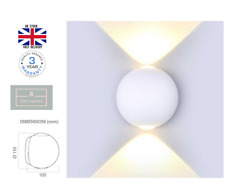 Indoor & Outdoor White Up & Down Round LED Wall Light IP65 Garden Patio 4000k