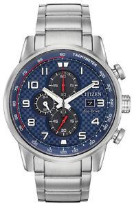Citizen Eco-Drive Men's Primo Chronograph Silver Bracelet 45mm Watch CA0680-57L