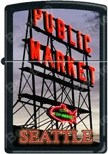 Zippo Seattle's Pike Place Fish Market Black Matte Windproof Lighter NEW Rare