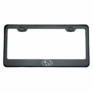 Black Chrome Subaru Logo Laser Engraved T304 Stainless Steel License Plate Frame