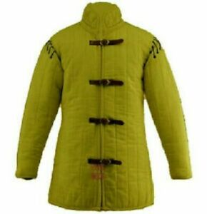 Medieval Thick Padded Gambeson Aketon Coat Armor cotton sca larp off Yellow