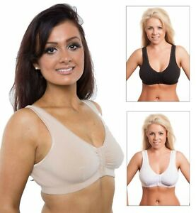 Ladies Front Fastening Bra Cotton Lycra Non Wired Non Padded Soft Stretch Bras